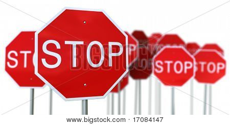 3d rendering of a lot of stop signs