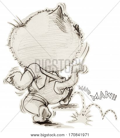 Cat acting is to tiptoe fled of someone Concept present is mystery mono tone warm color Cartoon character design pencil freehand sketch and clipping paths.