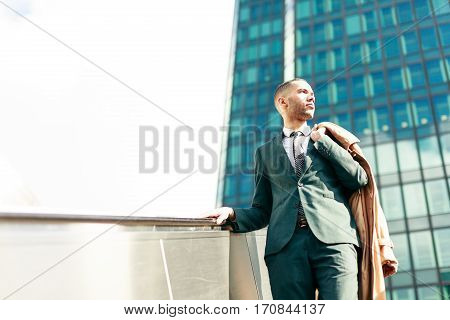 Black businessman in La Defense finance district, Paris