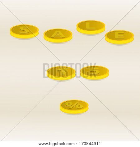 Vector illustration inscription gold coins sale fifteen percent on a light yellow background.
