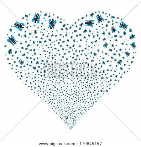 Angel fireworks with heart shape. Vector illustration style is flat blue and gray iconic symbols on a white background. Object love heart constructed from scattered pictographs.