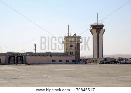 Hurghada, Egypt - November 5, 2006: Hurghada Inetrnational airport with communication tower in Egypt Africa