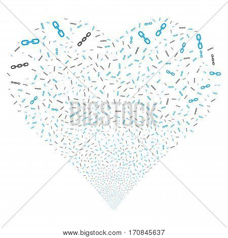 Chains fireworks with heart shape. Vector illustration style is flat blue and gray iconic symbols on a white background. Object stream done from confetti pictographs.