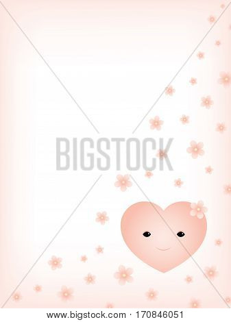 Vector white and pink background with illustration of a smiling heart and falling cherry flowers. Pastel tones. Vertical format. Place for text.