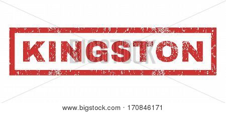 Kingston text rubber seal stamp watermark. Caption inside rectangular shape with grunge design and unclean texture. Horizontal vector red ink sign on a white background.