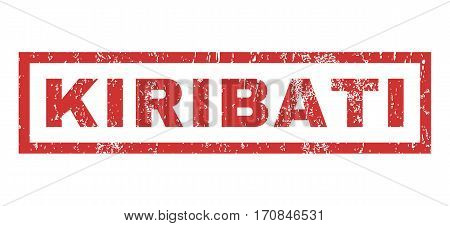 Kiribati text rubber seal stamp watermark. Tag inside rectangular banner with grunge design and dust texture. Horizontal vector red ink emblem on a white background.
