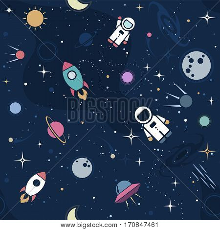 Vector flat space seamless pattern background. Cute color template with Astronaut Spaceship Rocket Moon Black Hole Stars in Outer space