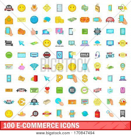100 e-commerce icons set in cartoon style for any design vector illustration