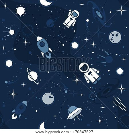 Vector flat space seamless pattern background. Cute template with Astronaut Spaceship Rocket Moon Black Hole Stars in Outer space