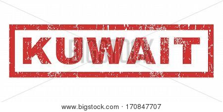Kuwait text rubber seal stamp watermark. Caption inside rectangular shape with grunge design and dust texture. Horizontal vector red ink emblem on a white background.
