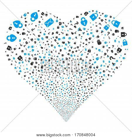 Secrecy Symbols fireworks with heart shape. Vector illustration style is flat blue and gray iconic symbols on a white background. Object heart constructed from random pictographs.