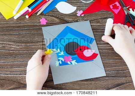 Child Sticks Paper Details. The Child Create A Spring Greeting Card Paper. Made By Hand. Craft For K