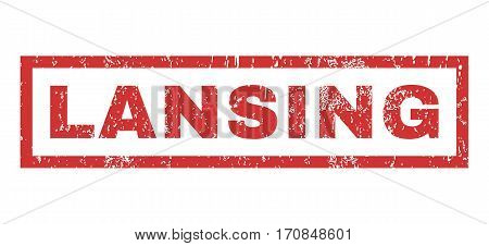 Lansing text rubber seal stamp watermark. Caption inside rectangular banner with grunge design and dust texture. Horizontal vector red ink sticker on a white background.
