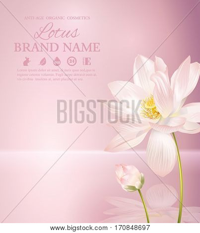Vector lotus banner on pink smooth background with reflection. Design for natural cosmetics, health care products. With place for text and your product image. Font names included in the layers
