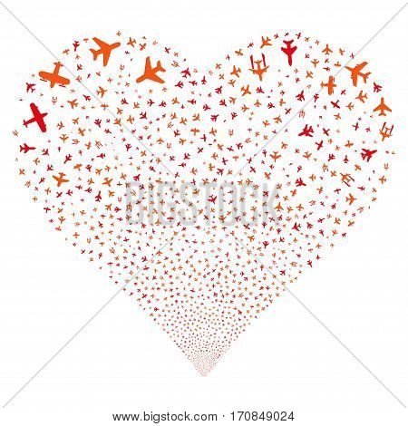 Airplanes fireworks with heart shape. Vector illustration style is flat intensive red and orange iconic symbols on a white background. Object love heart made from scattered icons.