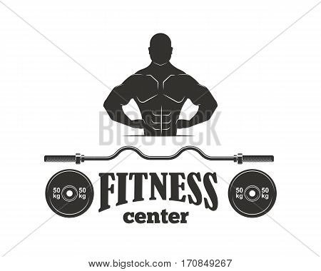 Monochrome fitness emblem, label, badge, logo and design element. Gym sport club strong equipment silhouette. Healthy bodybuilder athletic exercise training vector.