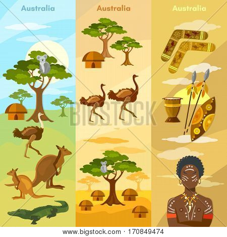 Australia travel banner. Animals and people of Australia bushmen koalas ostriches kangaroos