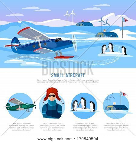Study of the Arctic and Antarctic flight to North Pole. Small aircraft. Travel to Antarctica infographics. Scientific polar explorers template design
