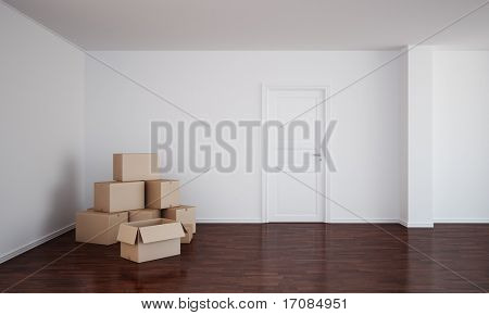 3d rendering of an empty room  with dark wood floor, cardboard boxes and an open door