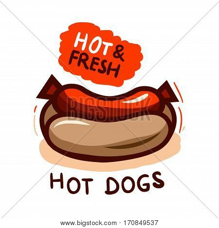 Set of badge, label, logo, icons design templates for american hotdog.