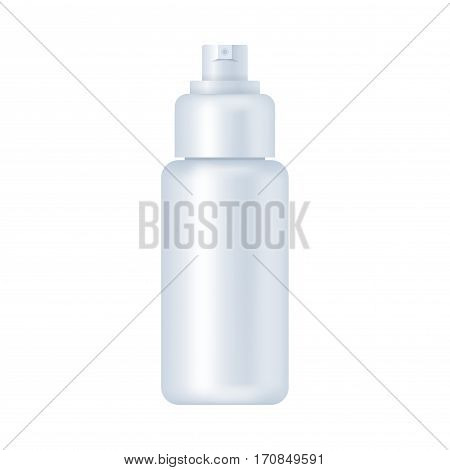 Blank cosmetic package isolated on white background. Tube for distilled water, lotion, emulsion, skin oil, epidermis moisturizer mock up vector illustration