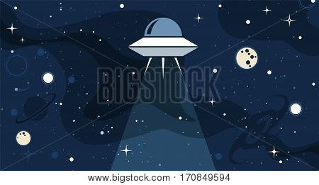 Vector flat cosmos design background. Cute template with alien Spaceship Ray Moon Stars in Outer space