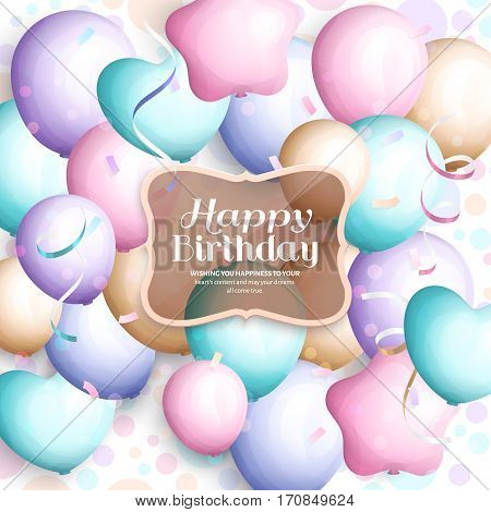Happy birthday greeting card. Retro vintage pastel party balloons, streamers, transparent frame with stylish lettering.
