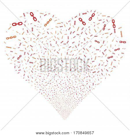 Chains fireworks with heart shape. Vector illustration style is flat intensive red and orange iconic symbols on a white background. Object salute organized from confetti pictograms.