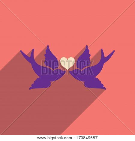 Flat web icon with long shadow birds heart