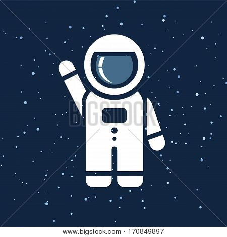 Vector flat space seamless pattern background. Cute template with Astronaut in Outer space