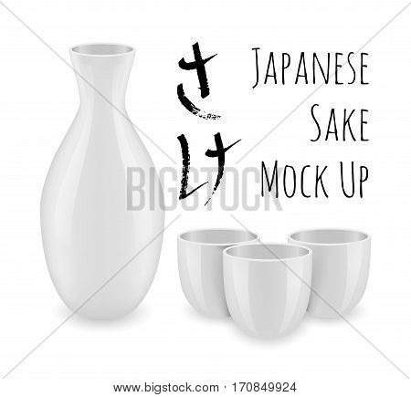Japanese tradition alcohol sake mock up collection. Naturally rice wine from Japan. Set of cups and decanter vector illustration isolated on white background. Kitchen objects for your design
