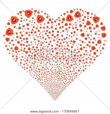 Electric Guard fireworks with heart shape. Vector illustration style is flat intensive red and orange iconic symbols on a white background. Object valentine heart made from scattered pictograms.