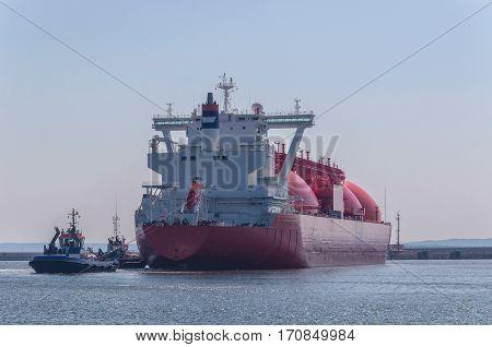 GAS CARRIER IN PORT - tanker will moor berth gas terminal in Swinoujscie