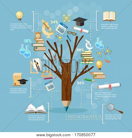 Education tree of knowledge open book of knowledge infographics effective modern education template design