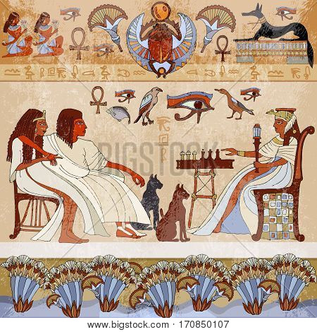 Murals ancient Egypt.scene. Egyptian gods and pharaohs. Hieroglyphic carvings on the exterior walls of an ancient egyptian temple