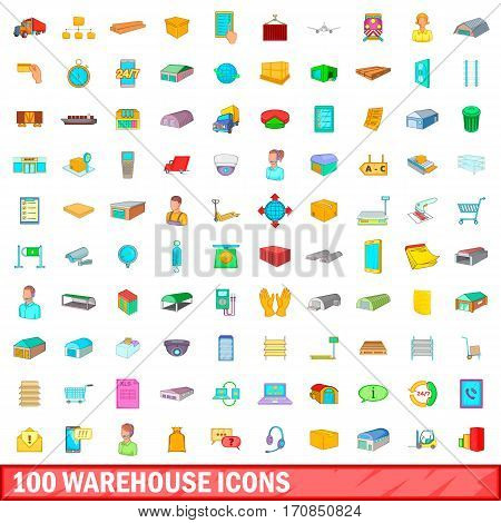 100 warehouse icons set in cartoon style for any design vector illustration