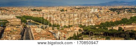 cityscape of Rome at suny day with clouds, Italy, Europe