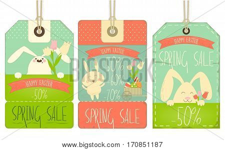 Easter Sale Tags with Rabbits in Retro Style on White Background. Vector Illustration.