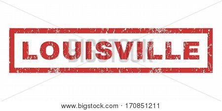 Louisville text rubber seal stamp watermark. Caption inside rectangular banner with grunge design and dirty texture. Horizontal vector red ink sticker on a white background.