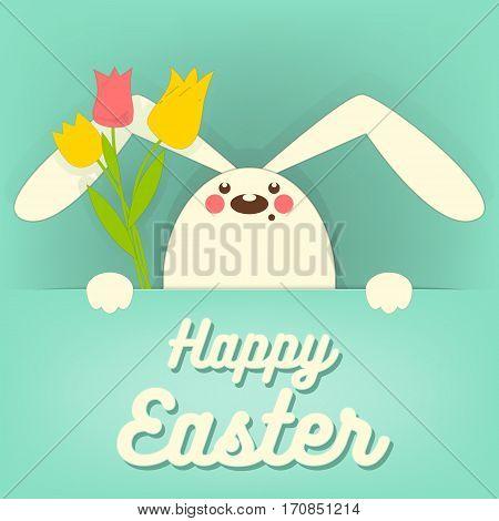 Happy Easter Rabbit Bunny on Blue Background. Vector Illustration.