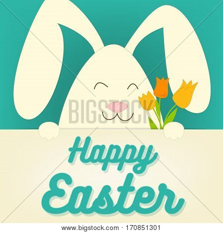 Happy Easter Rabbit Bunny with Tulips on Blue Background. Vector Illustration.