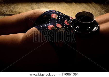 Tea Cup With Saucer On Girl's Body