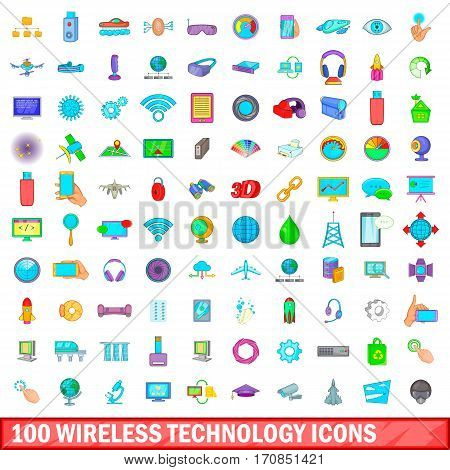 100 wireless technology icons set in cartoon style for any design vector illustration