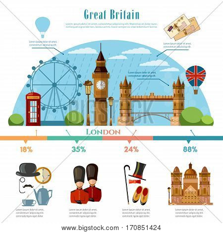 London infographic tourist sights of Great Britain welcome to England. United kingdom infographic. Travel to London presentation template