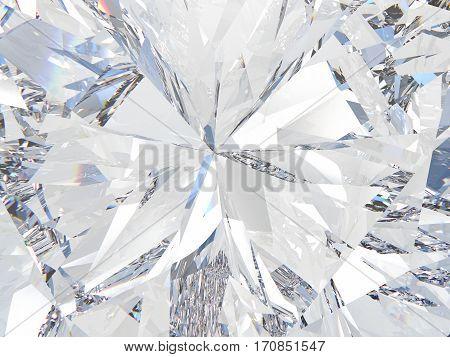 3D illustration crop a diamond texture zoom