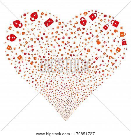 Secrecy Symbols fireworks with heart shape. Vector illustration style is flat intensive red and orange iconic symbols on a white background. Object salute combined from random design elements.
