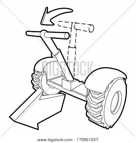 Front inclined segway icon. Outline illustration of front inclined segway vector icon for web