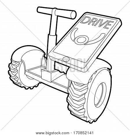 Drive on segway icon. Outline illustration of drive on segway vector icon for web