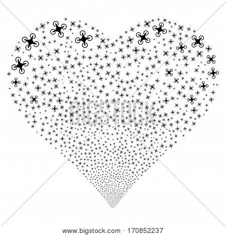Air Drone fireworks with heart shape. Vector illustration style is flat black iconic symbols on a white background. Object heart created from scattered pictograms.