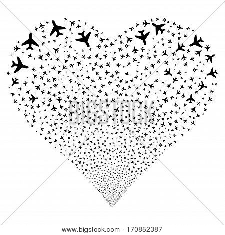 Air Plane fireworks with heart shape. Vector illustration style is flat black iconic symbols on a white background. Object love heart combined from confetti pictographs.